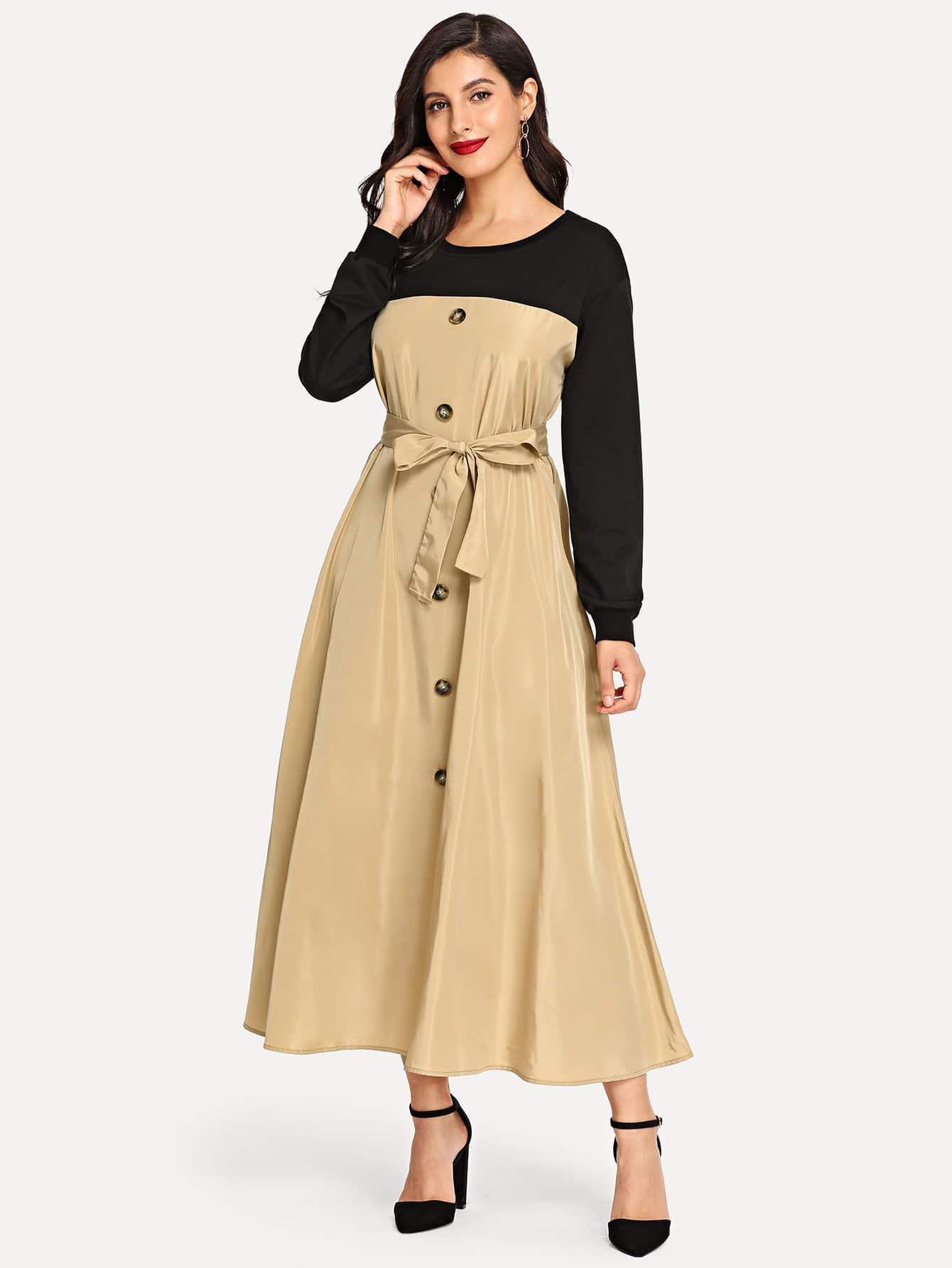 Купить Двухцветное платье с завязкой на талии, Jeane, SheIn
