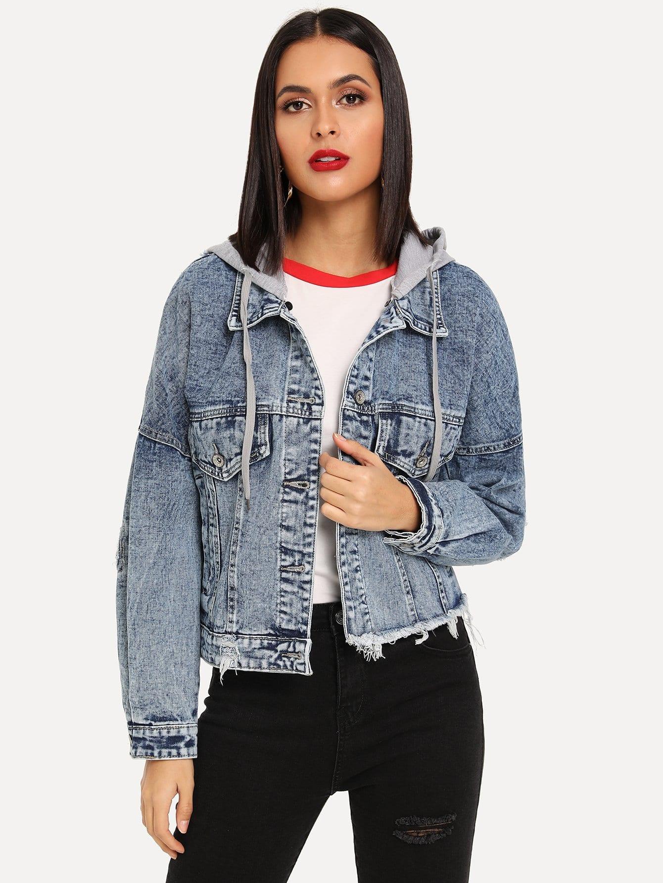 Купить Джинсовая куртка с капюшоном с необработанным низом, Verob, SheIn