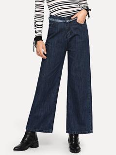 Raw Trim Wide Leg Palazzo Jeans