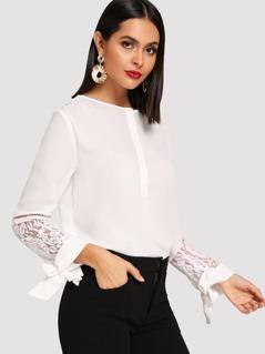Button Up Contrast Lace Shirt