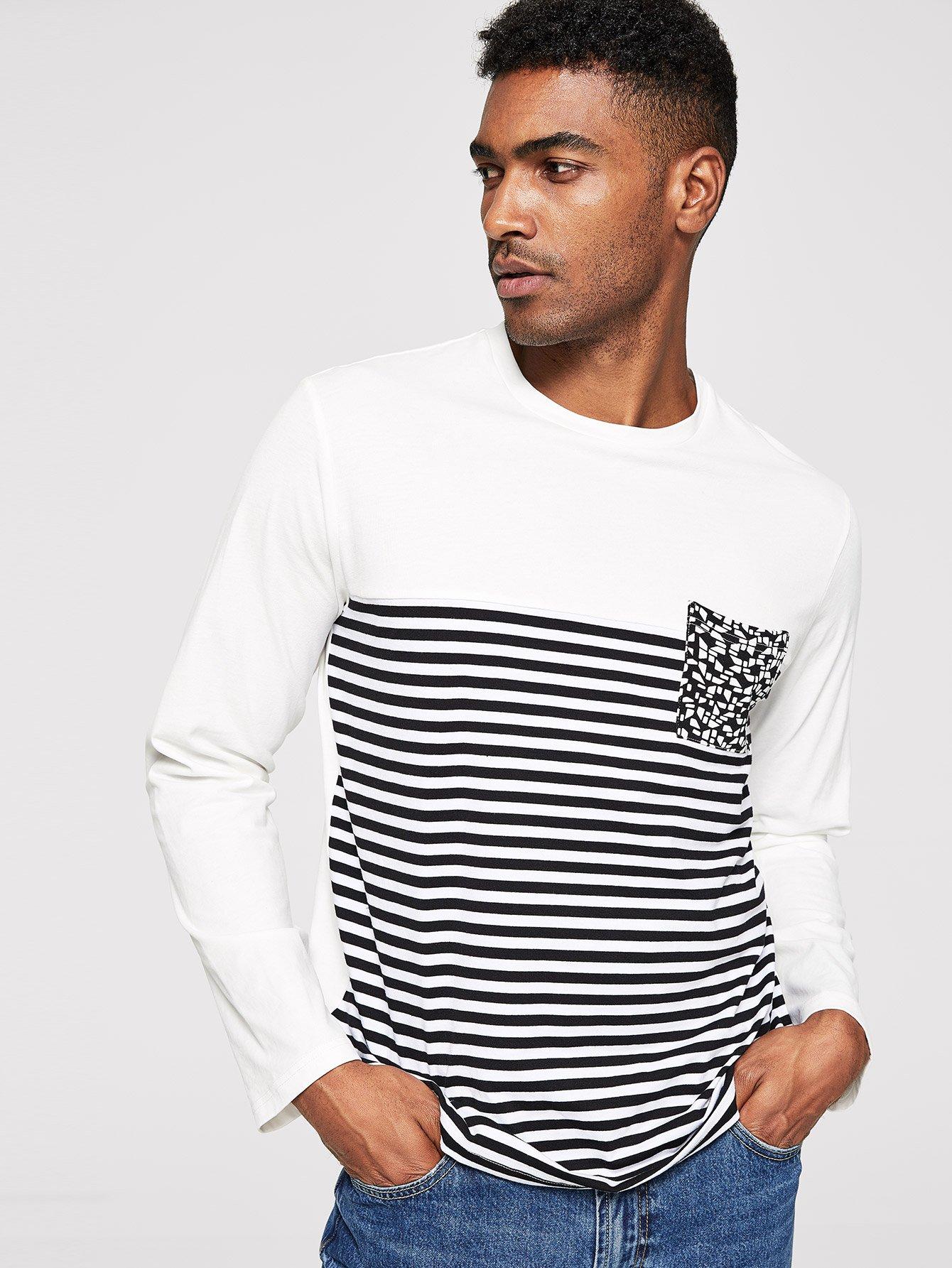 Купить Мужская футболка в полоску с карманом, Johnn Silva, SheIn
