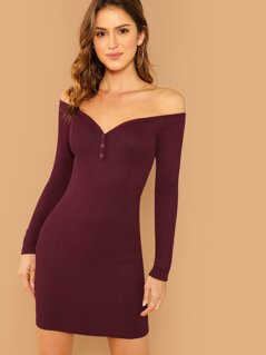 Press Buttoned Off Shoulder Rib-knit Fitted Dress