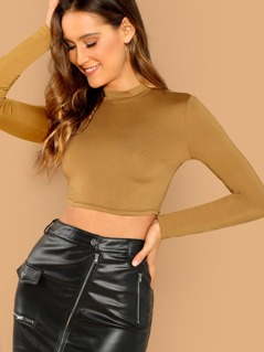 Slim Fitted Solid Crop Tee