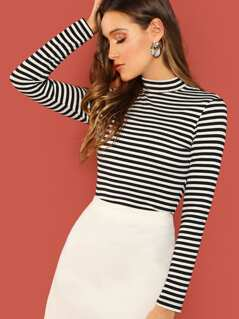 Mock Neck Striped Rib Knit T-shirt