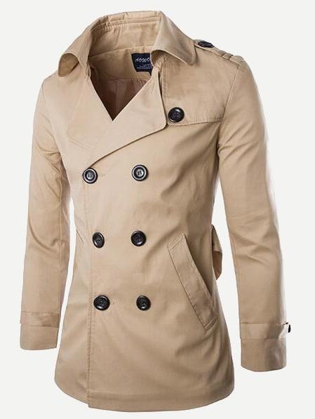 Купить Мужское двубортное однотонное пальто с вырезом назад, null, SheIn