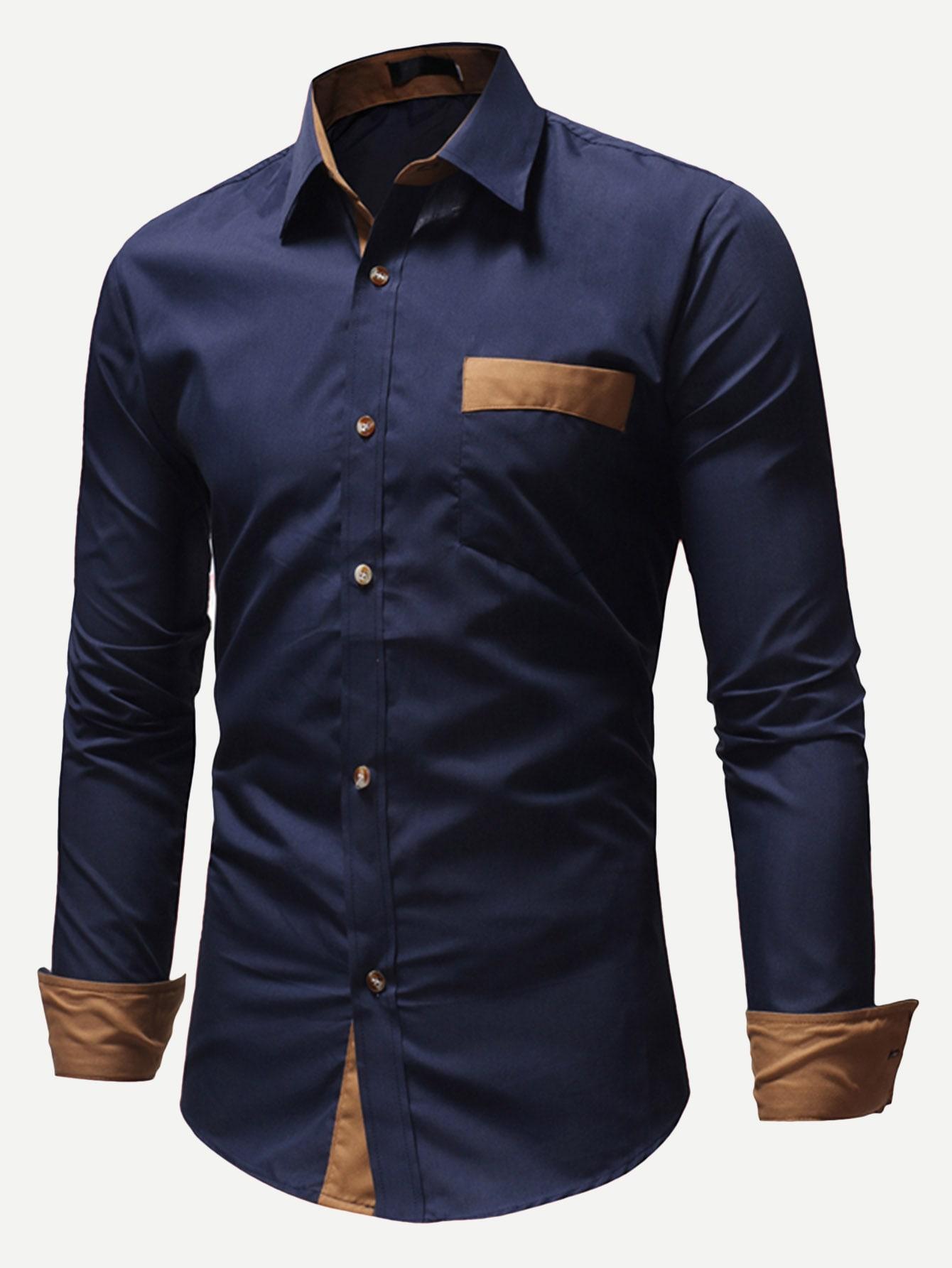 Купить Мужская контрастна футболка с карманом, null, SheIn