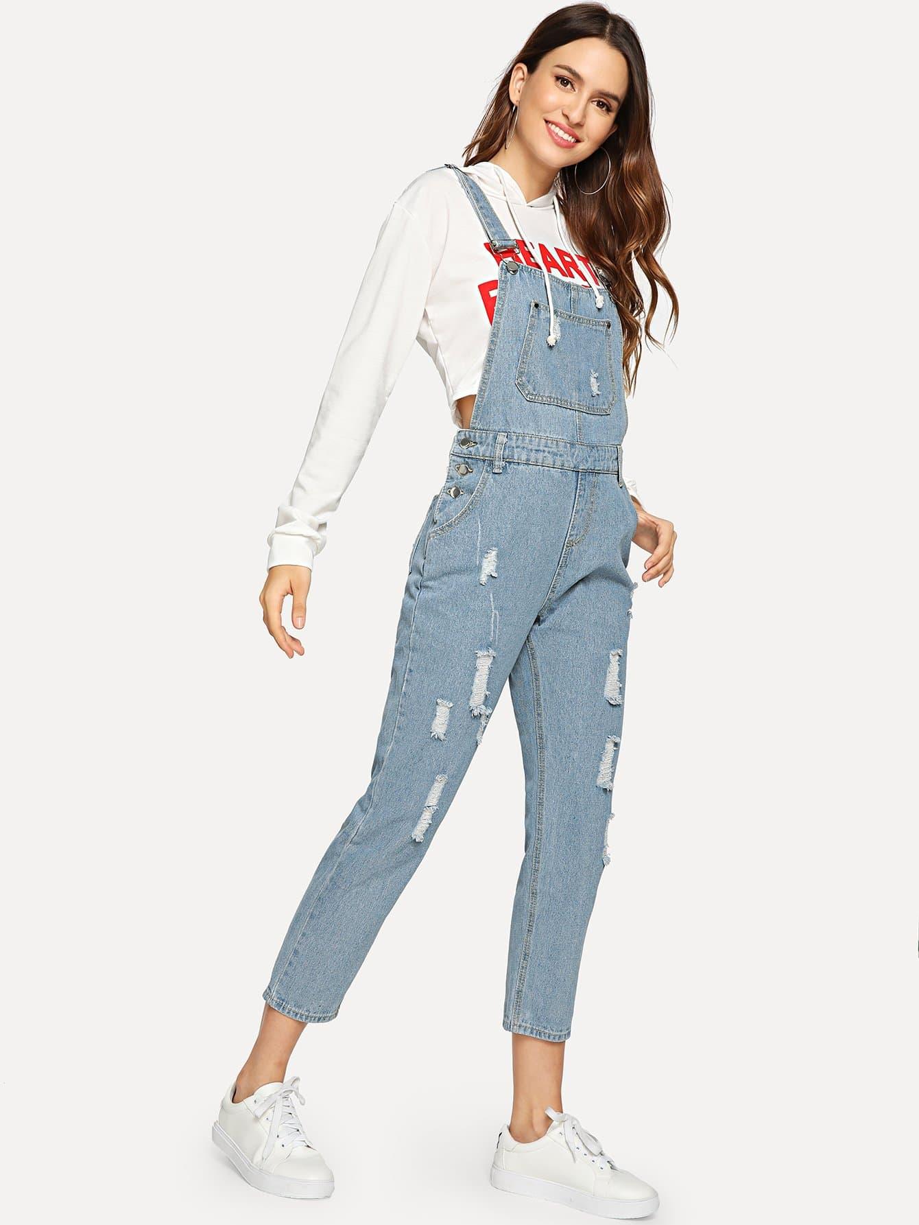 Купить Рваный джинсовый комбинезон с карманом, Jana, SheIn