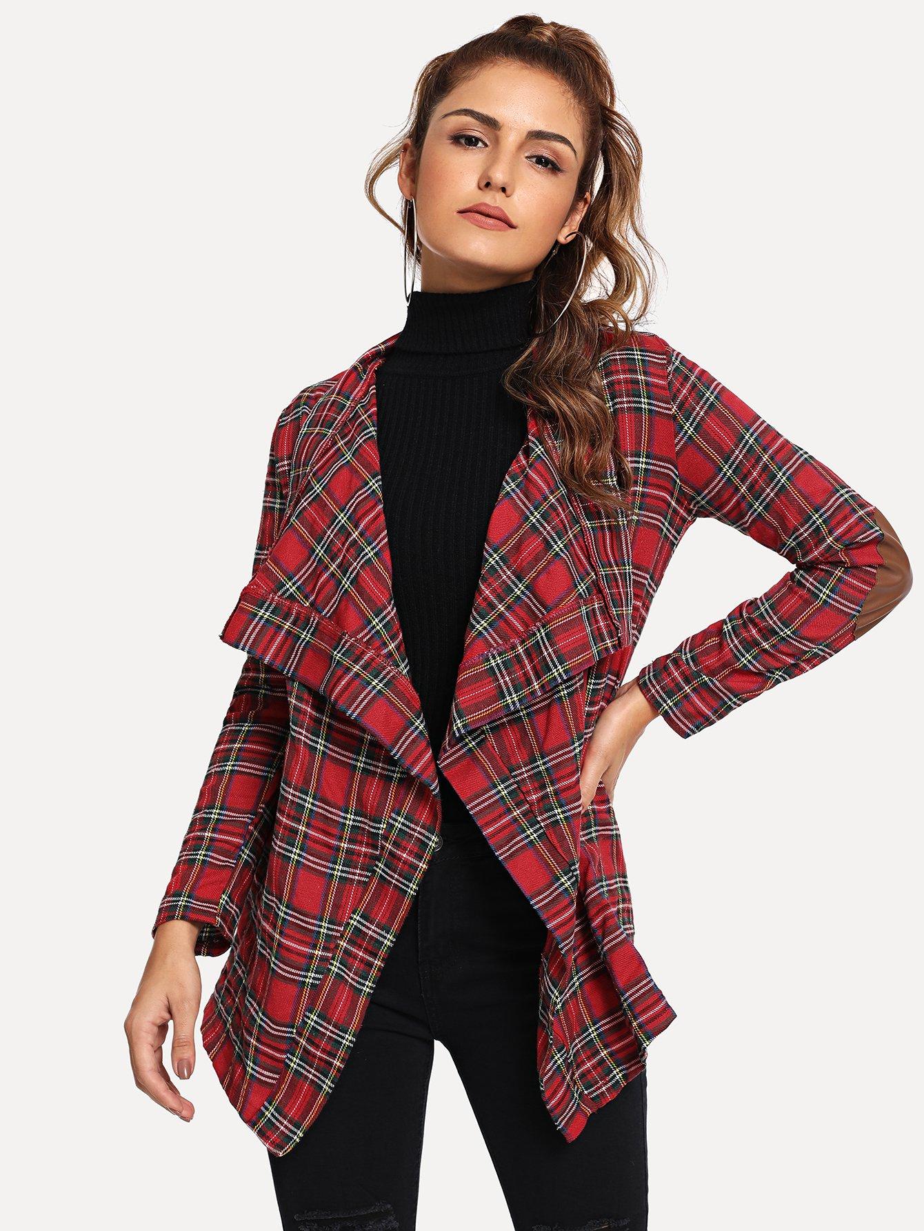 Купить Пальто пончо в клетку, Lisa A, SheIn