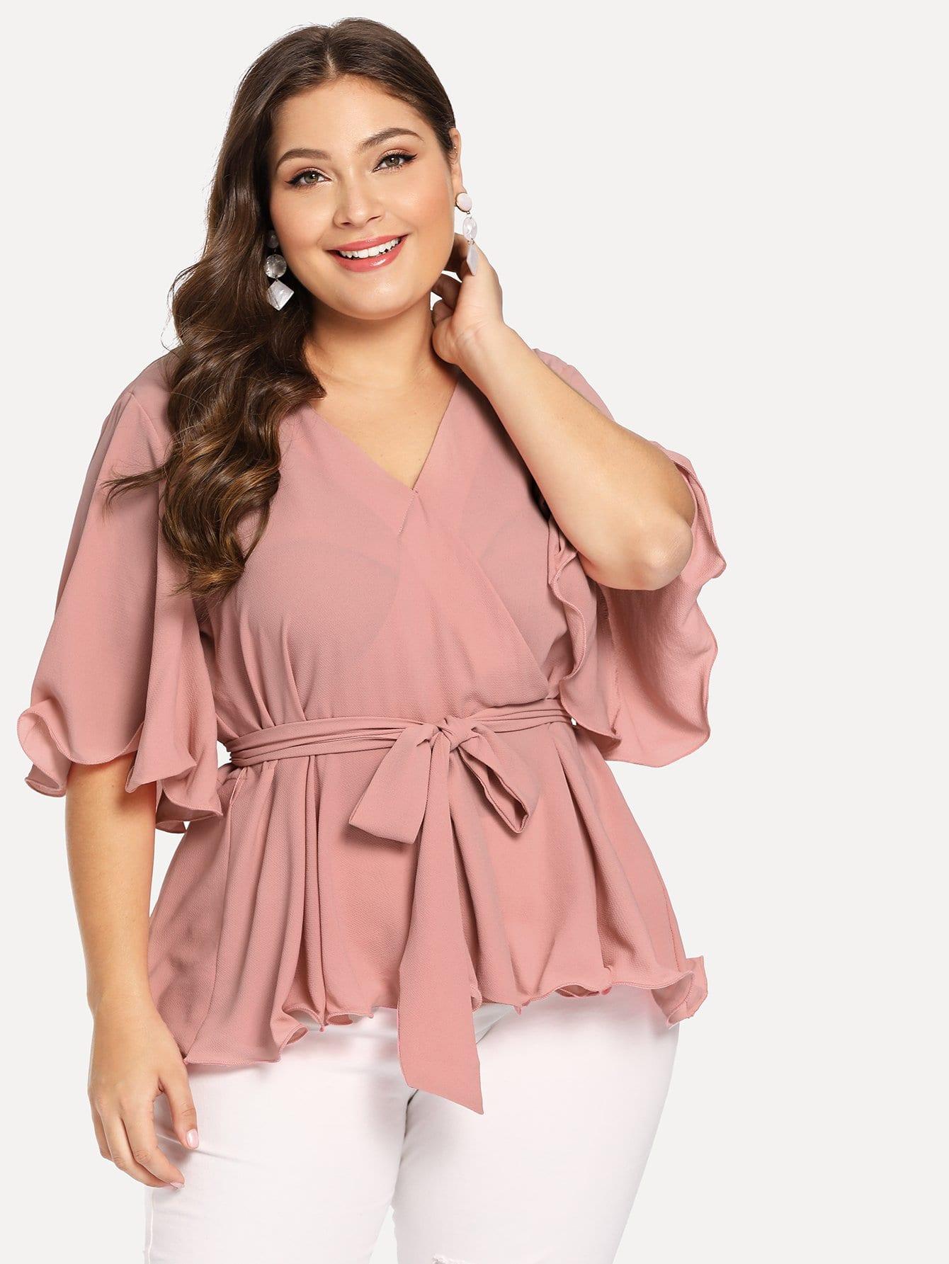 Купить Большая ситцевая блуза с поясом, Carol, SheIn