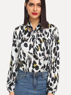 Tie Neck Leopard Blouse