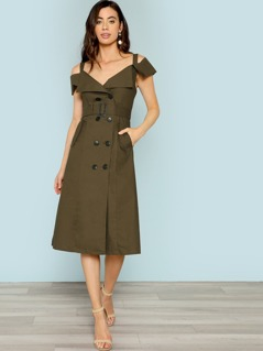 Cold Shoulder Belted Trench Utility Dress