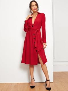 Button Through Tie Waist Slit Shirt Dress