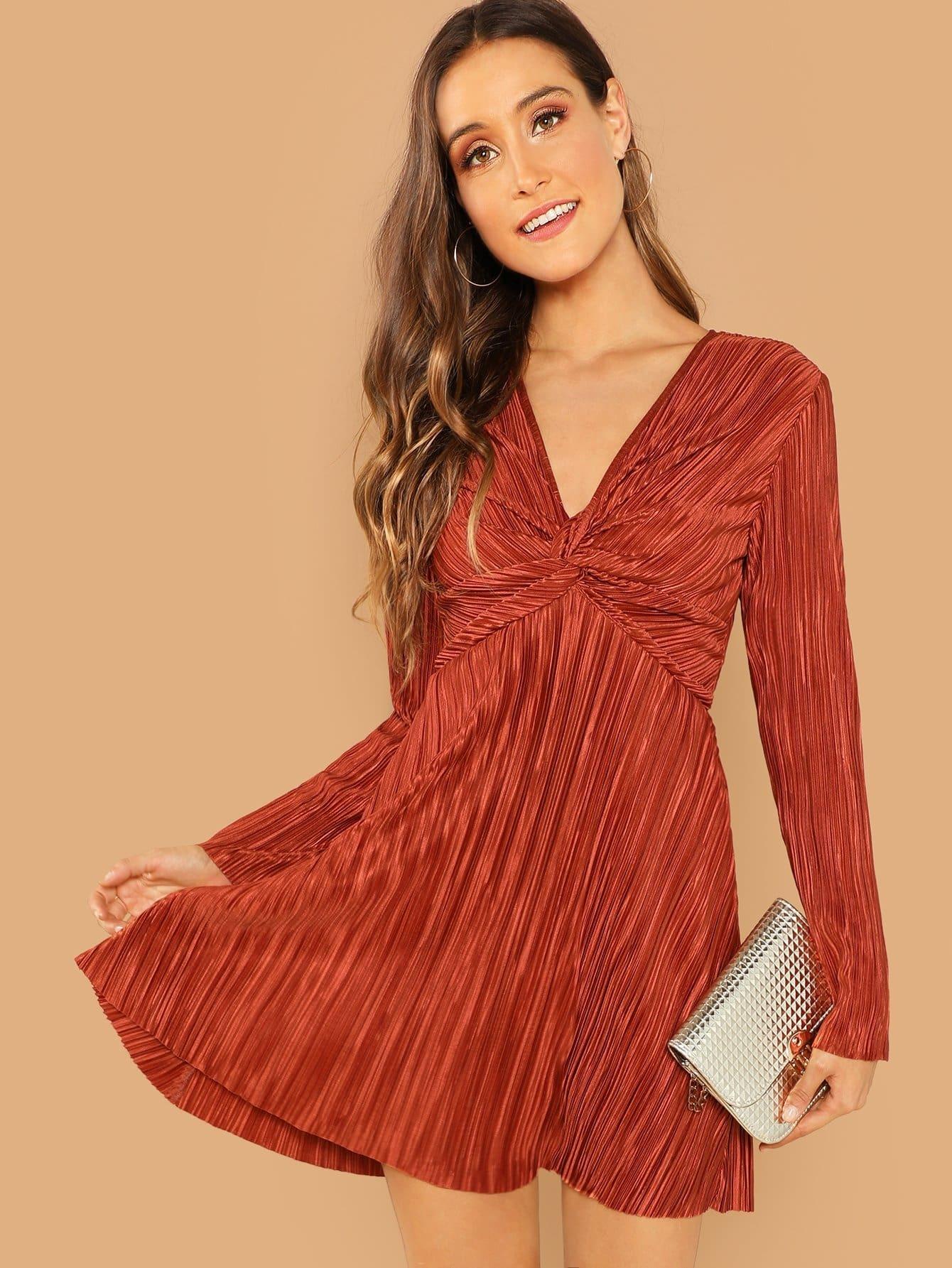 Купить Витой твердое платье на молнии сзади, Anna Herrin, SheIn