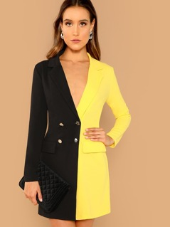 Double Breasted Spliced Blazer Dress