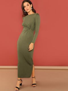 Twist Front Slit Side Maxi Dress