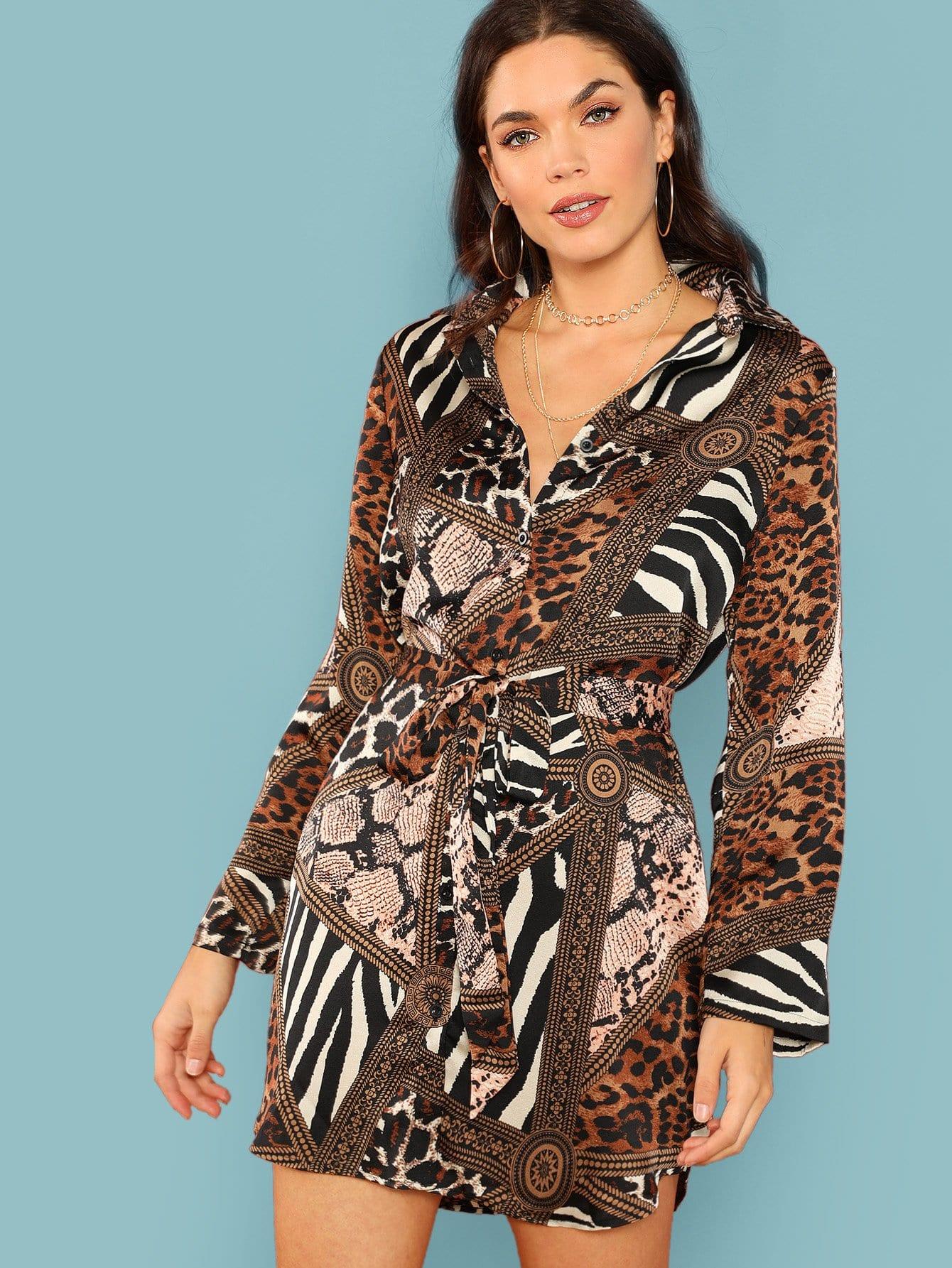 Фото - Платье-рубашка с анималистичным принтом и поясом от SheIn цвет многоцветный
