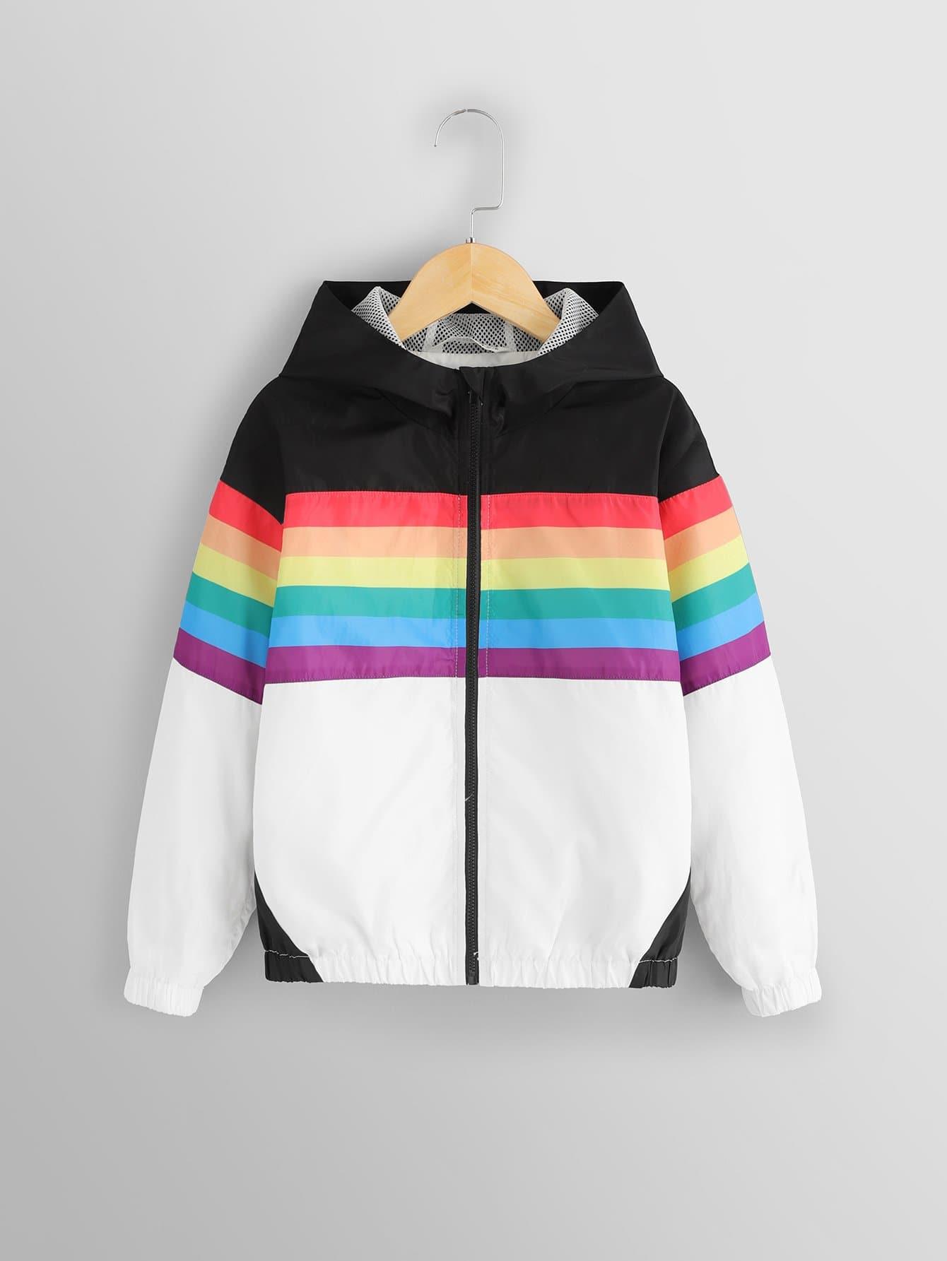 Купить Для девочек контрастная куртка с капюшоном на молнии, null, SheIn