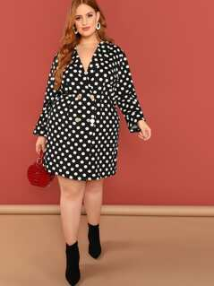 Plus Double Breasted Polka-Dot Coat