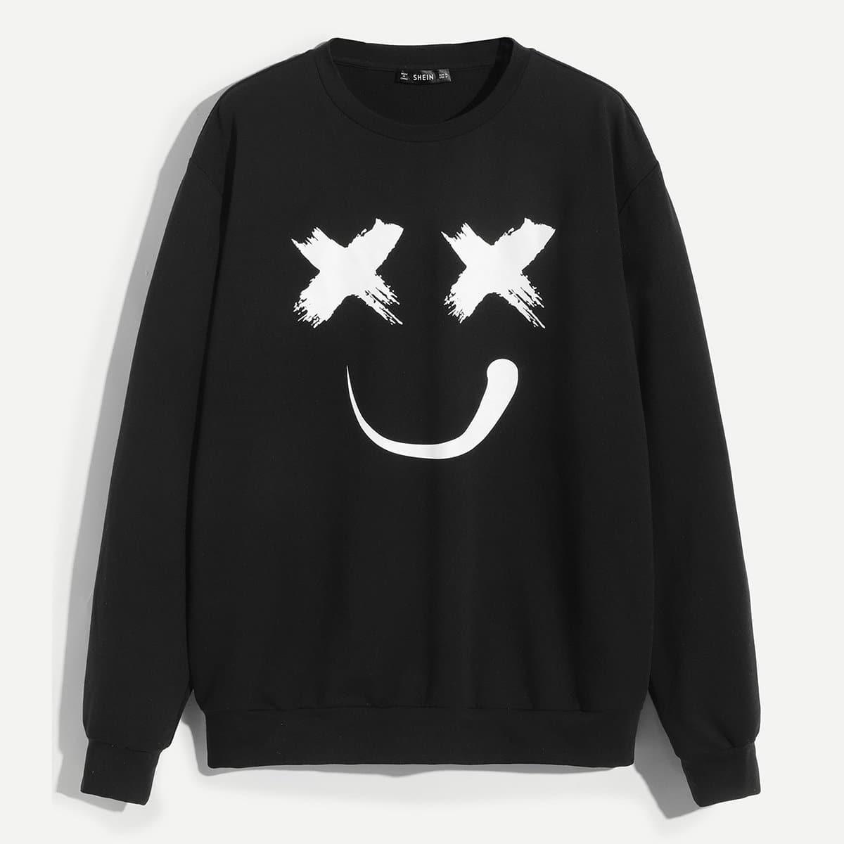 Zwart Casual Spotprent Sweatshirts voor heren