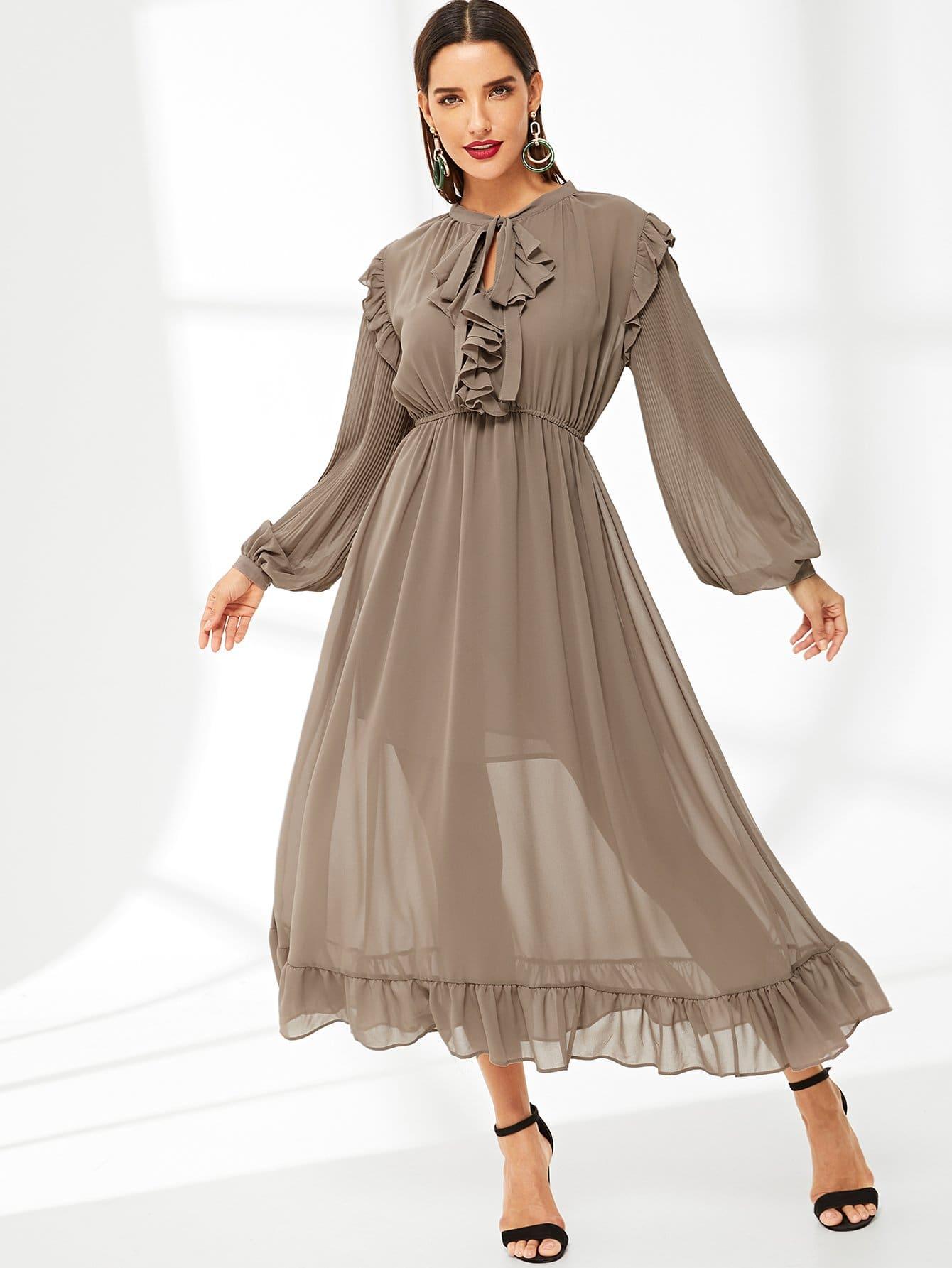 Купить Асимметричное платье с эластичной талией и рукавами, присборенный у манжета, Juliana, SheIn