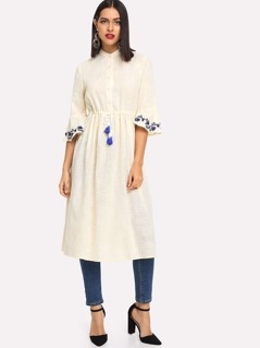 Embroidered Flounce Sleeve Tassel Drawstring Waist Dress