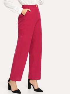 Neon Pink Slant Pocket Solid Pants