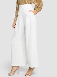 High Waist Slant Pocket Wide Leg Pants