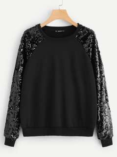 Contrast Sequin Raglan Sleeve Pullover