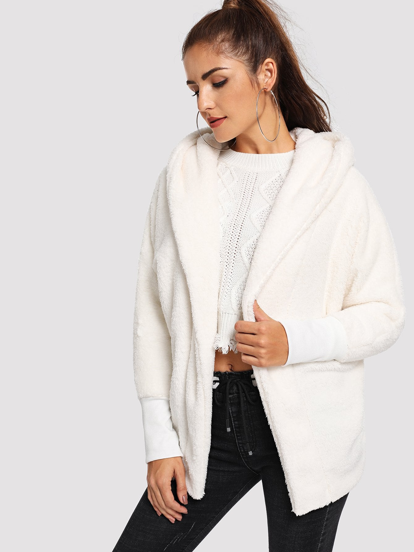 Купить Пальто тедди с капюшоном, Lisa A, SheIn