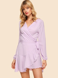 Surplice Wrap Ruffle Dress