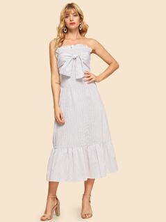 Bow Tie Front Frill Trim Tube Dress