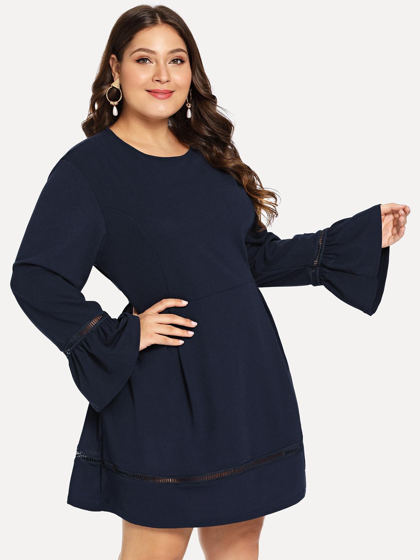 Купить Плюс размеры платье с оборками рукавами, Carol, SheIn