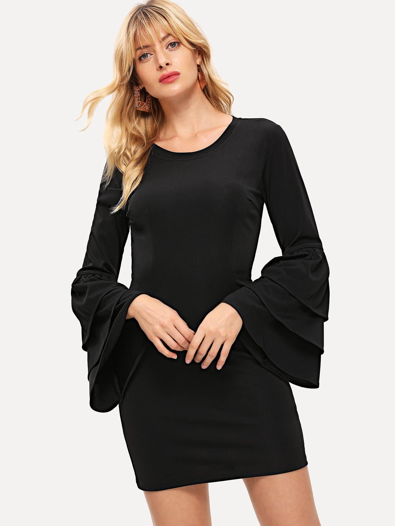 Фото - Облегающее платье с оборками рукавами от SheIn цвет чёрные