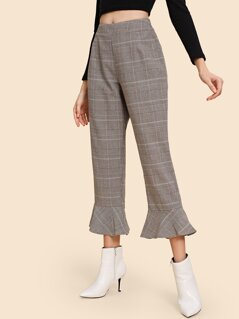 Plaid Ruffle Hem Pants