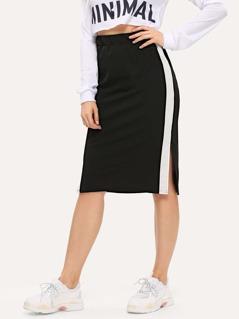 Color Block Slit Side Skirt