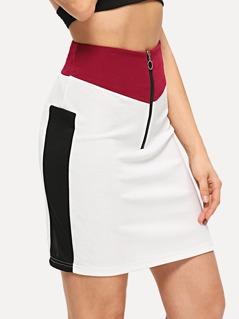 Exposed Zip Front Color-Block Skirt