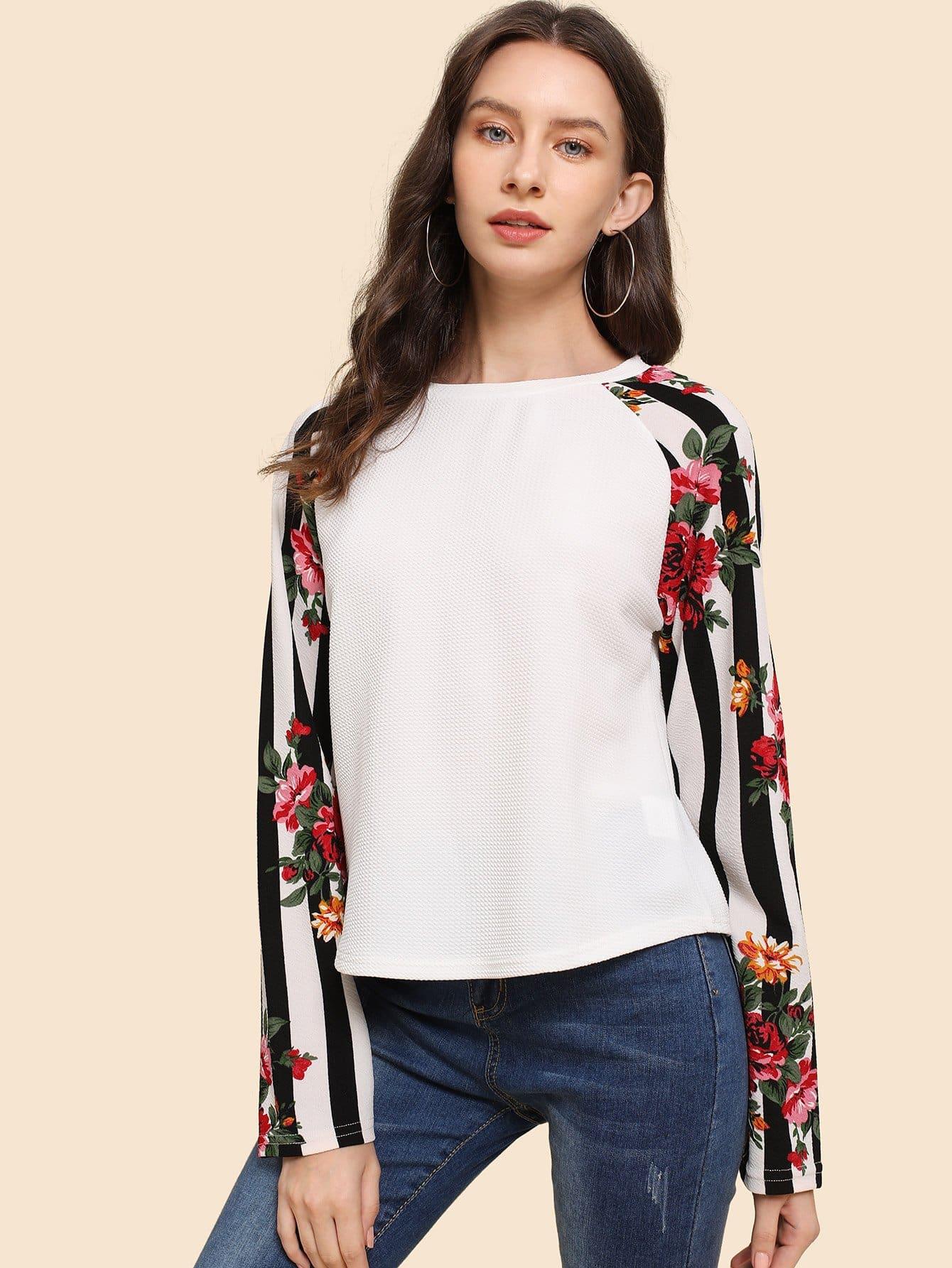 Купить Полосатая ситцевая футболка с рукав-регланами, Kate B, SheIn