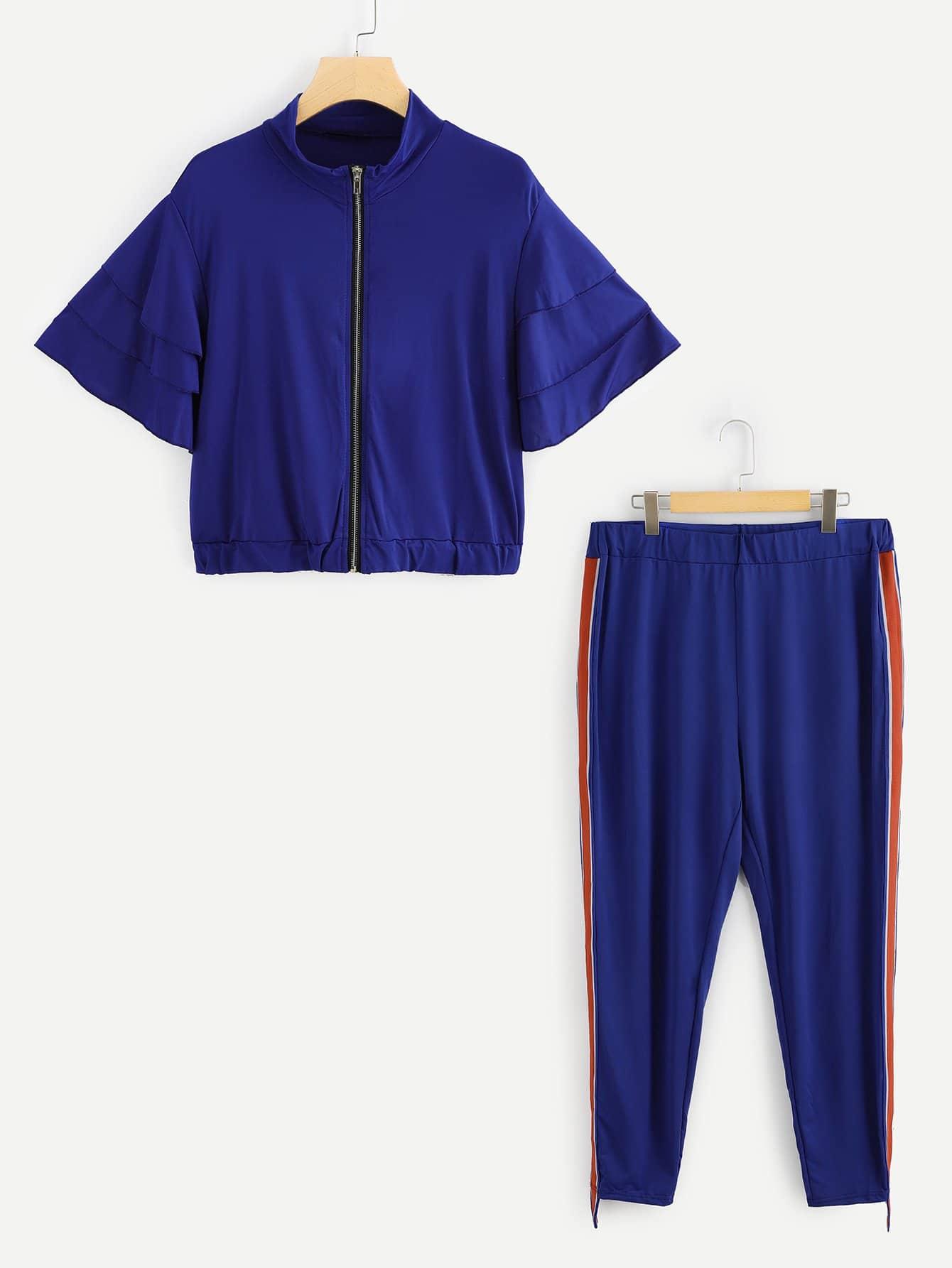 Купить Большой комплект с оборкой рукавом блузка на молнии + брюки, null, SheIn