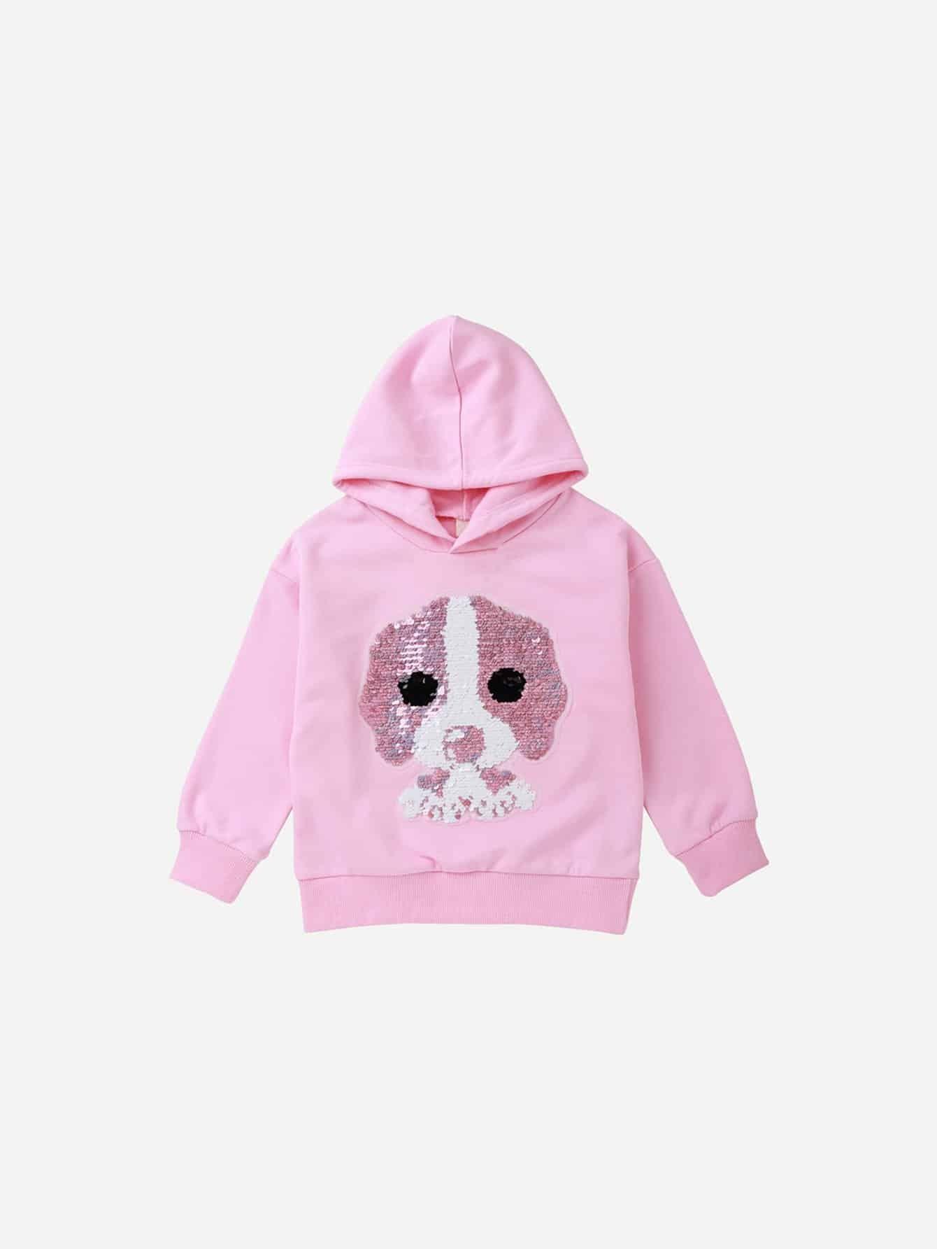Купить Пуловер с рисунком собаки и со симметрическими пайетки для девочки, null, SheIn