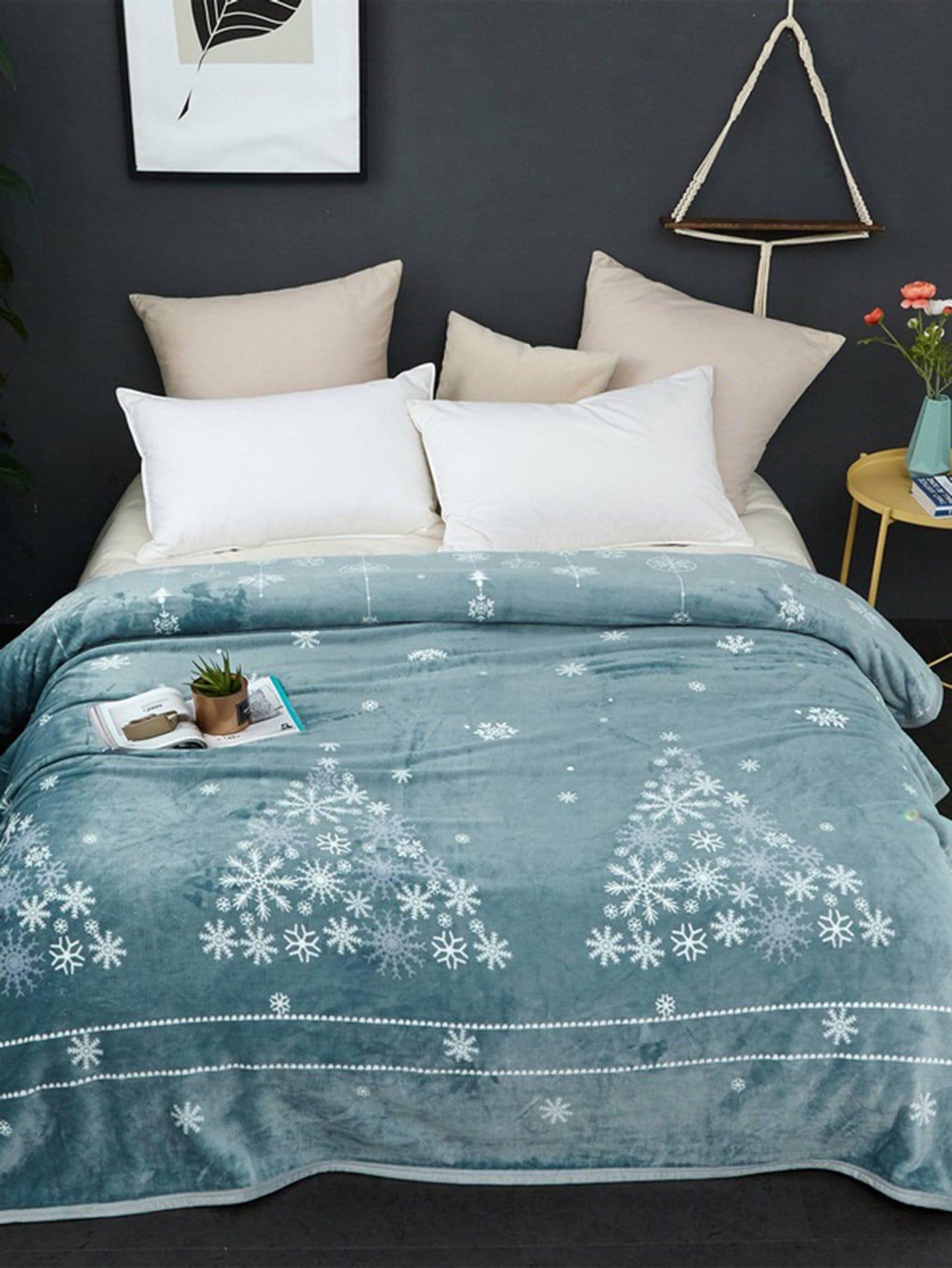Купить Одеяло с принтом рождественския снежинки 1шт., null, SheIn