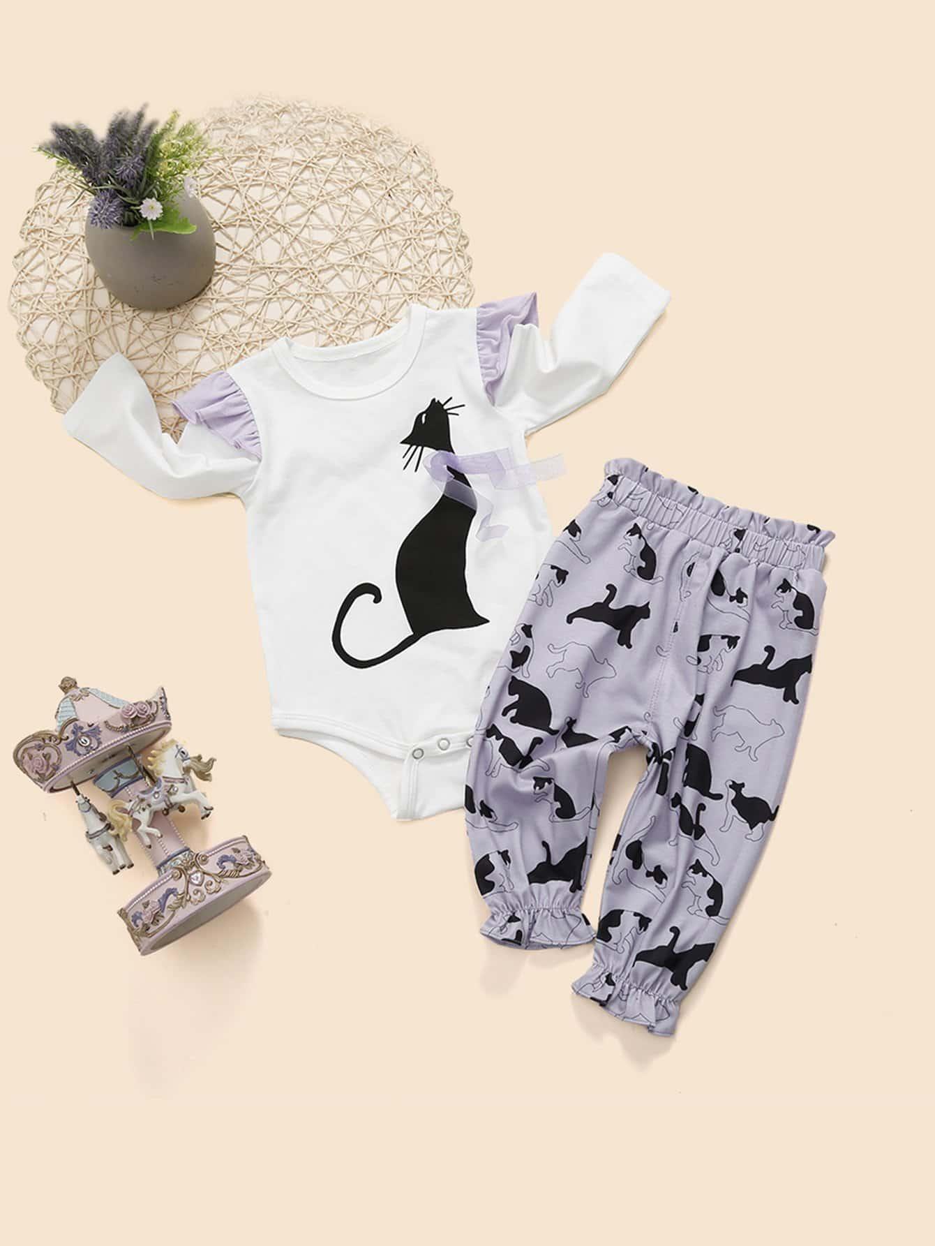 Блуза с кружевными оборками и принтом кота и брюки для маленьких малышей, null, SheIn  - купить со скидкой