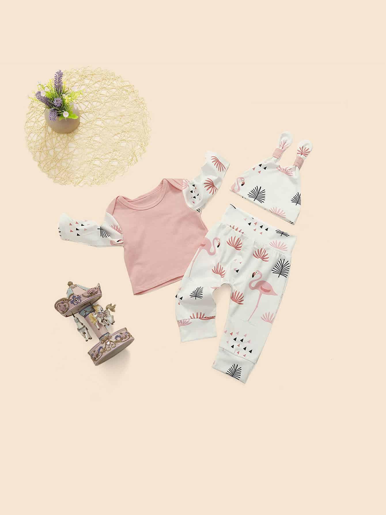 Купить Блуза с графическим принтом и брюки и шляпка для маленьких малышей, null, SheIn