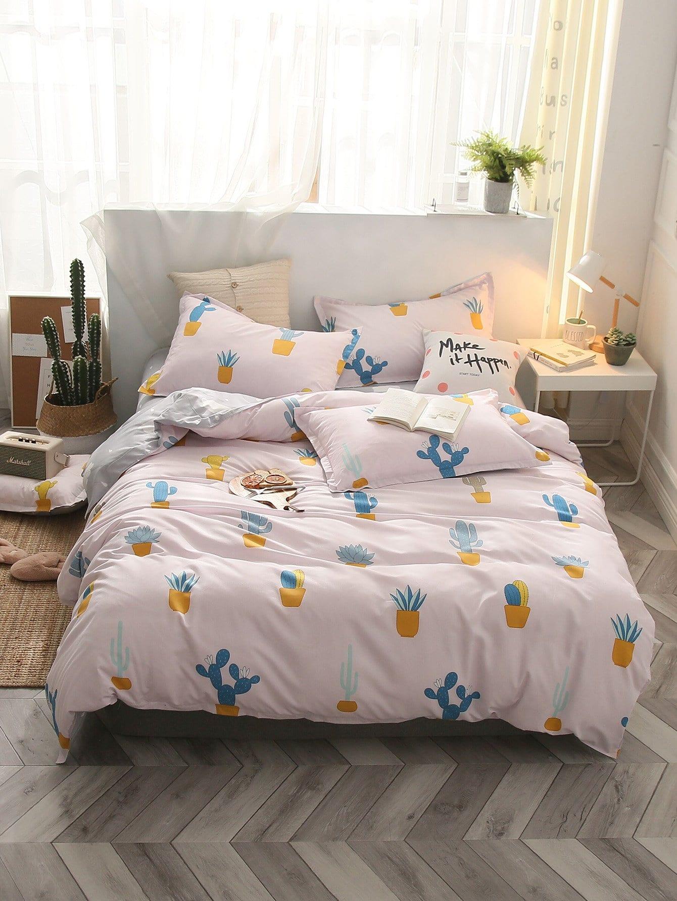 Купить Комплект постельного белья с принтом растения, null, SheIn