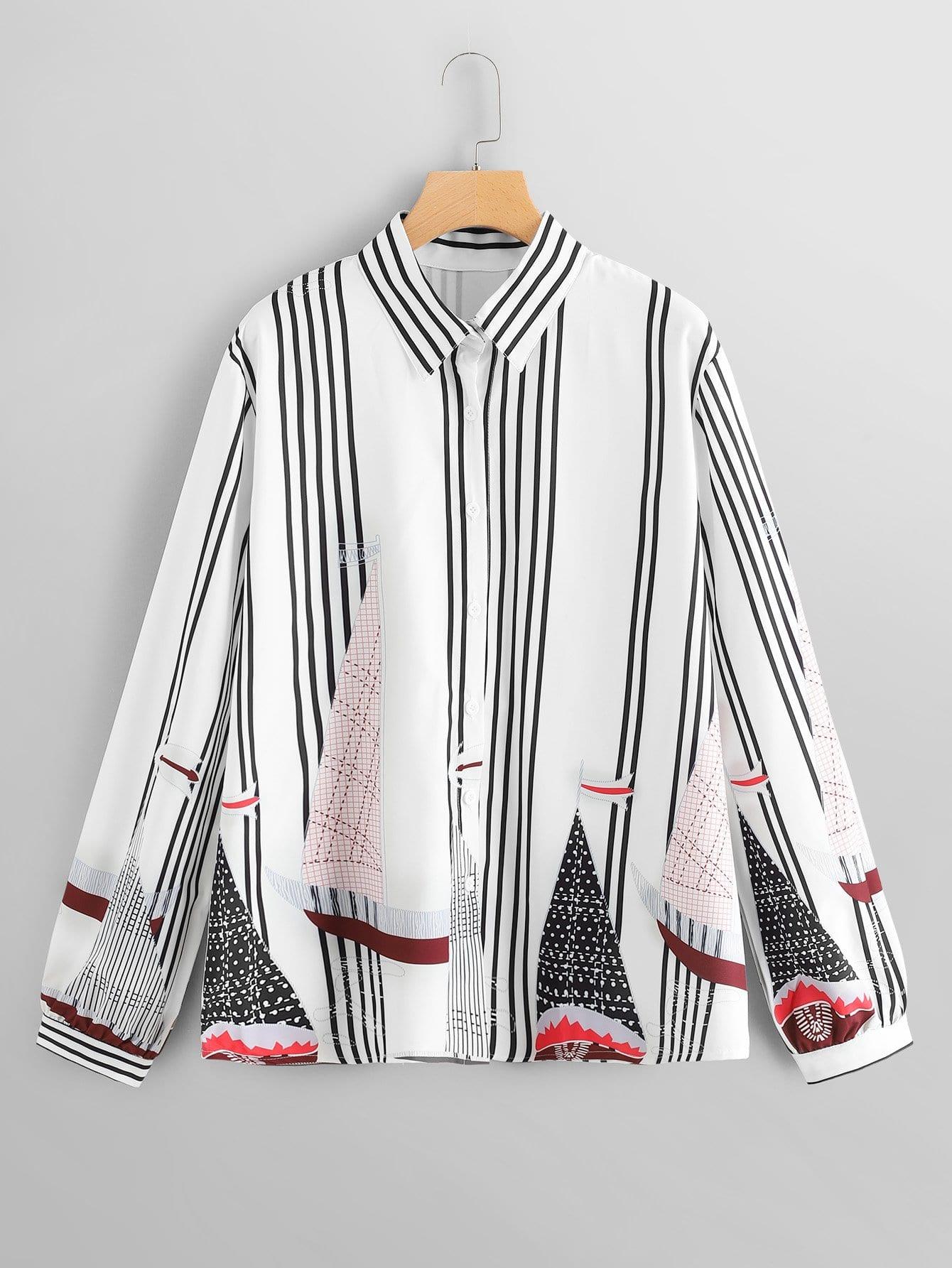 Купить Размера плюс полосатая блуза с принтом случайным, null, SheIn