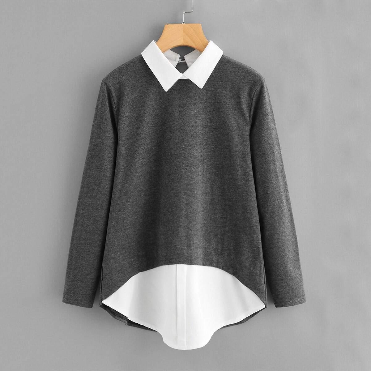 Grijs Casual Grote maten blouses