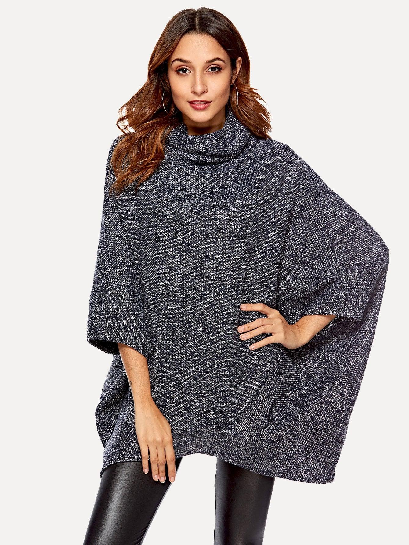 bf30e3729903 High Neck Dip Hem Poncho Sweater -SheIn(Sheinside)