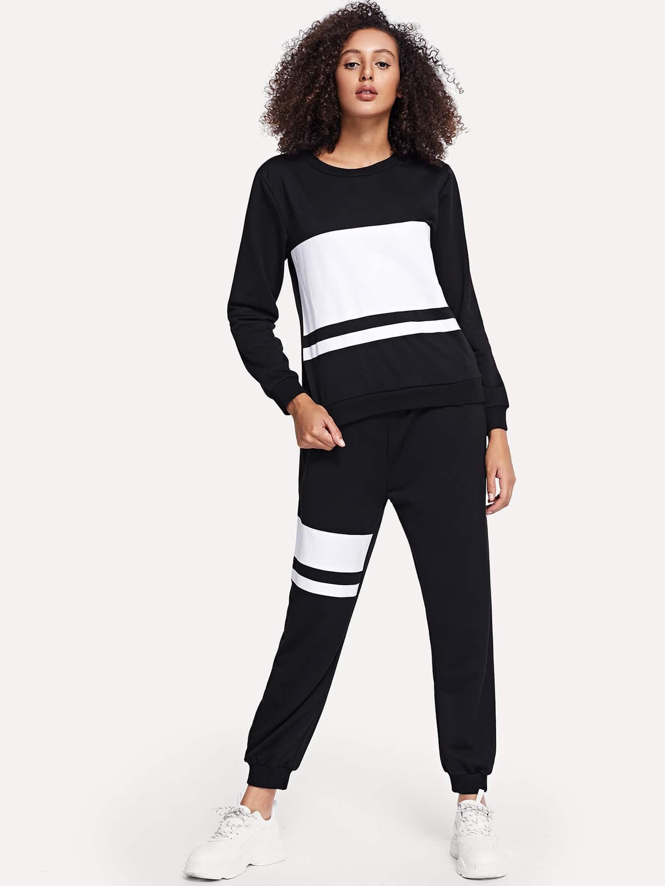 Купить Контрастная полосатая блуза и брюки, Elaine, SheIn