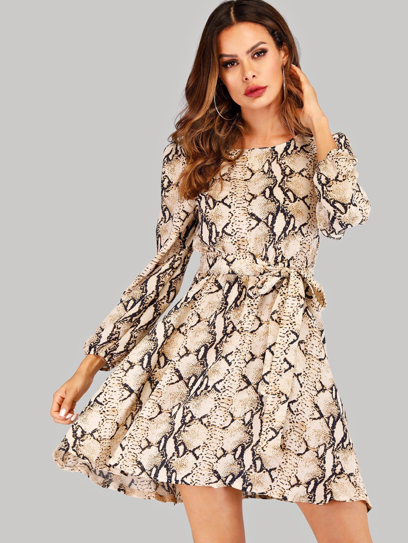 Купить Платье с принтом змеиной кожи с поясом, Andy, SheIn