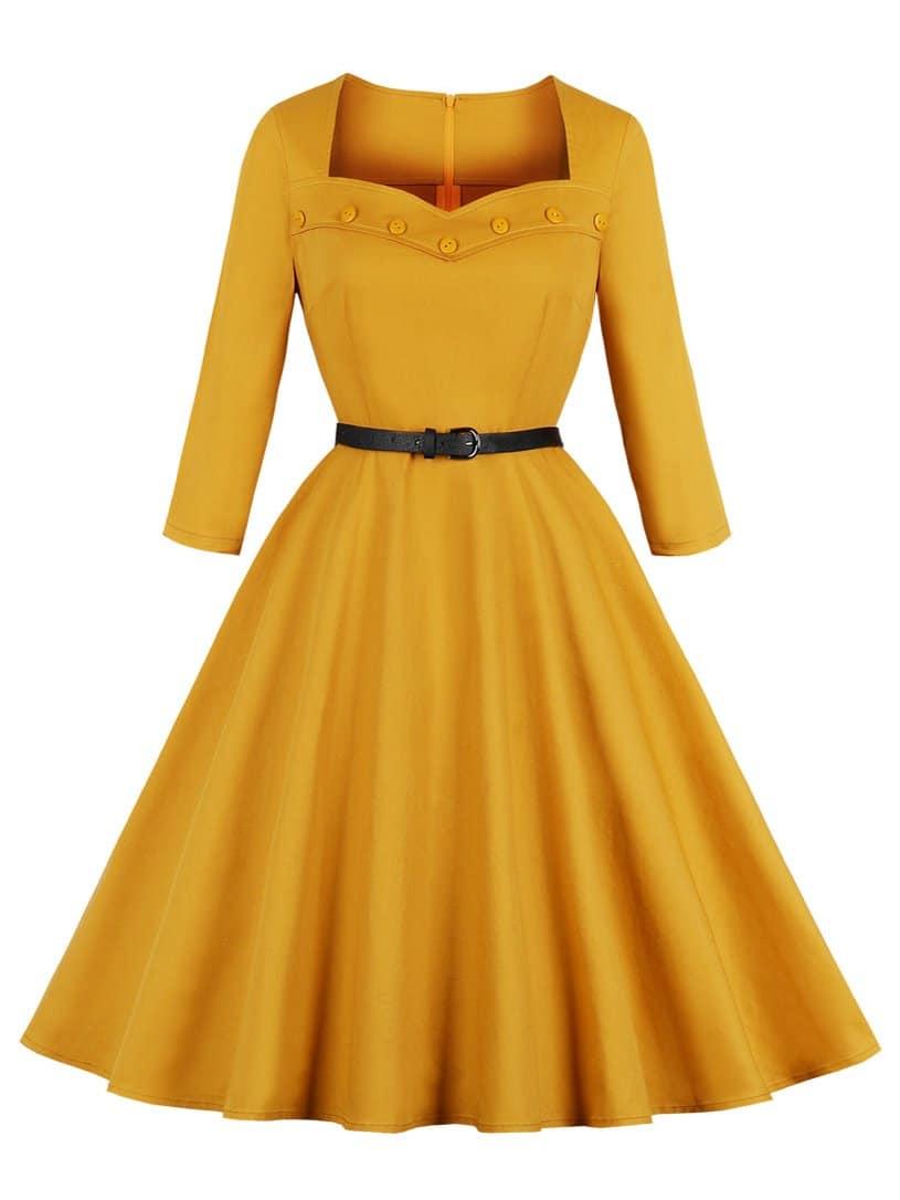 Фото - Платье с воротником сердца и пуговицами от SheIn цвет жёлтые