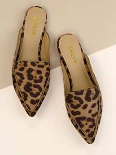 Leopard Pointy Toe Loafer Mules